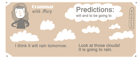 Grammar with Mary. Predictions: will and to be going to